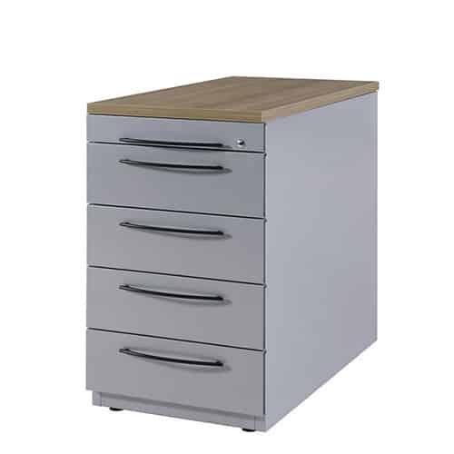 Ladeblok Huislijn - bureau hoog, voorzien van topblad, 4 laden en Basic handgrepen (BxDxH)44x60/80x62cm. Met Blumotion sluittechniek!