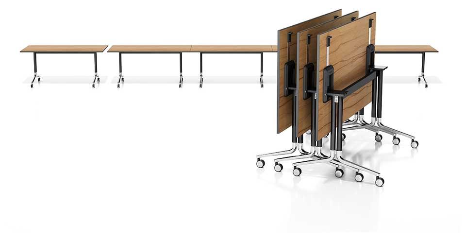 Inklapbare verrijdbare tafel temo fliptop boom for Inklapbare tafel