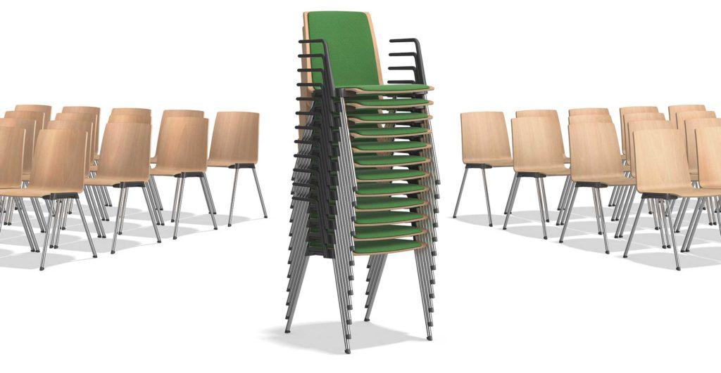 koppelbare en stapelbare stoelen Casala Caliber