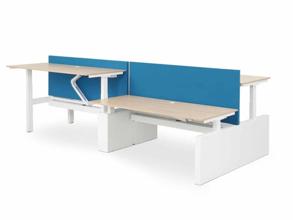Hi-Tee quattro elektrische zit sta werkplekken van Voortman bestaan uit 4 hoogte instelbare bureau's