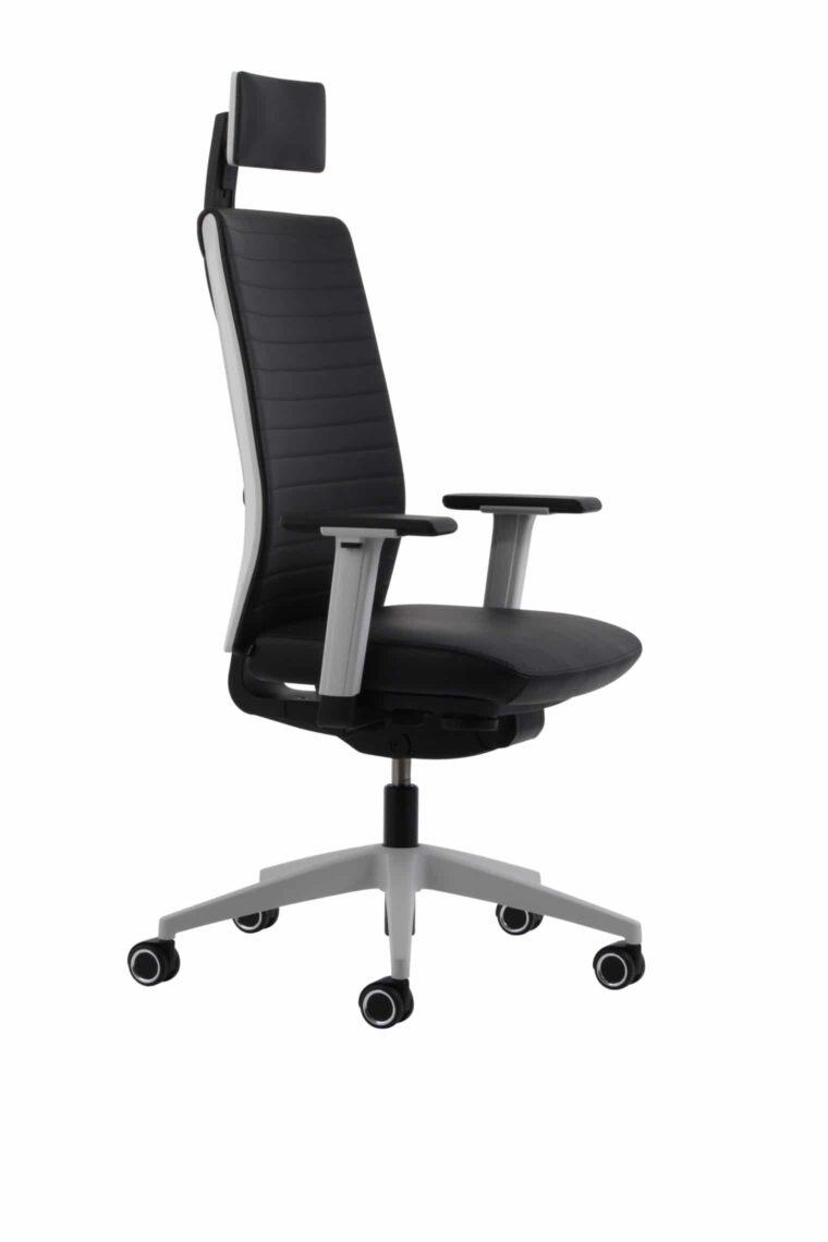 Kohl TEMPEO Leer bureaustoel Lichtgrijze rug in Zwart leer