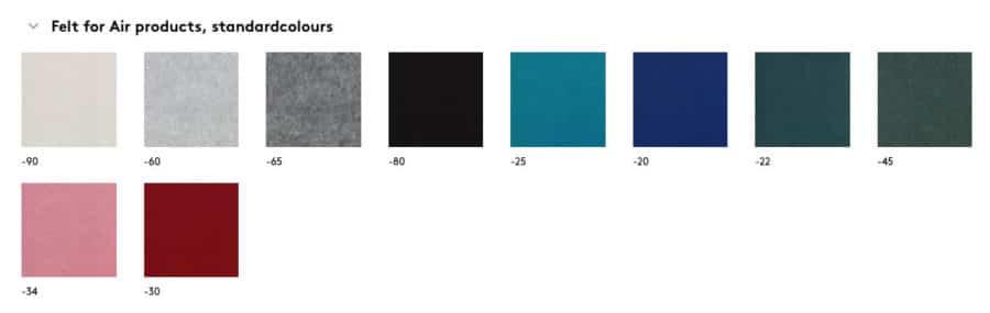 Standaard kleuren Air elementen