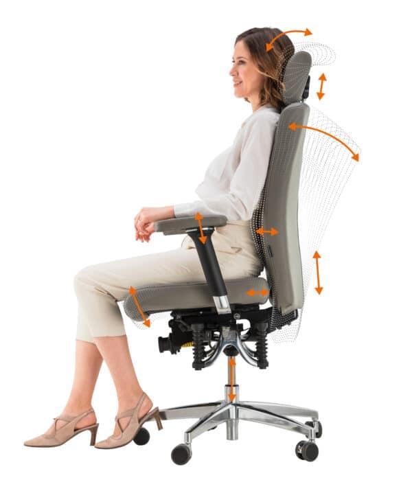 Bioswing 560 iQ leren bureaustoel instelmogelijkheden