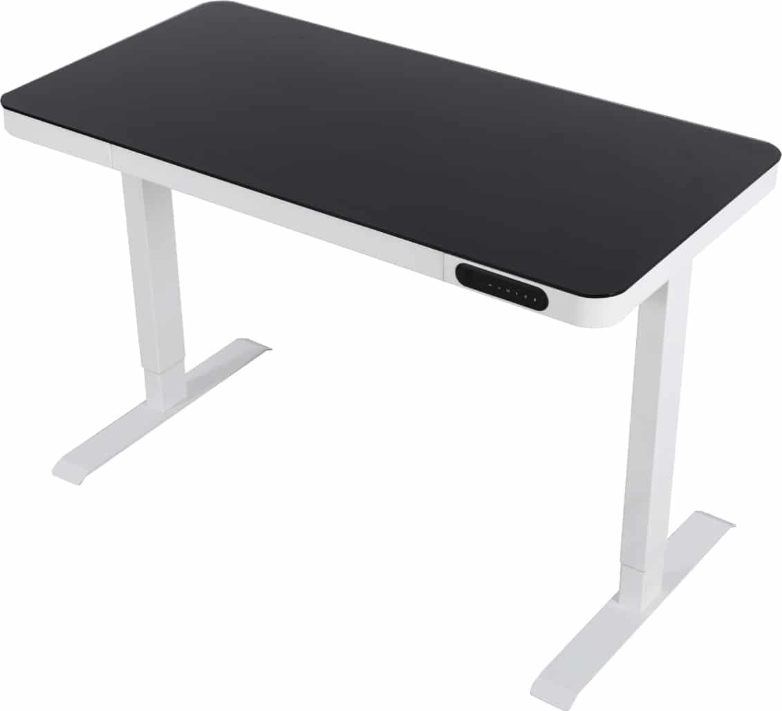 Zit-sta thuiswerkplek frame wit- glazen blad zwart, bladframe wit