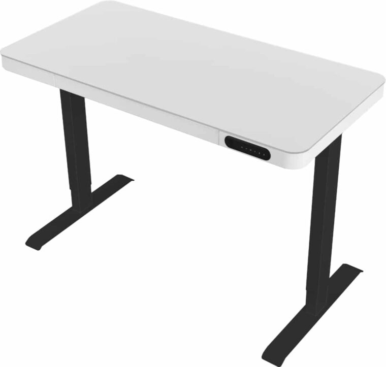 Zit-sta thuiswerkplek frame zwart - glazen blad wit, bladframe wit